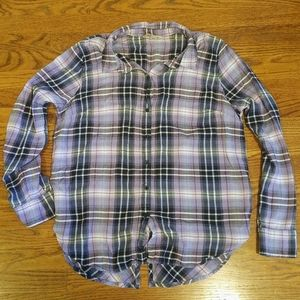 Lucky Brand Purple Plaid Flannel Shirt